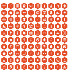 100 well person icons hexagon orange vector