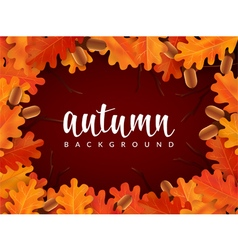 Autumn border with oak leaves and acorns vector