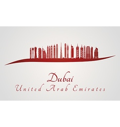 Dubai V2 skyline in red vector image