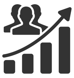 Audience growth chart flat icon vector