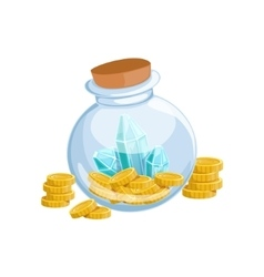 Sealed glass jar with golden coins and blue vector