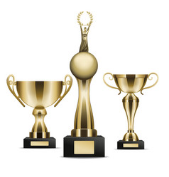 Set of golden trophy cups winner graphic art icon vector