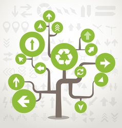 Abstract green tree with different arrows vector image