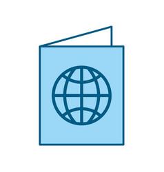 Color blue passport cartoon vector
