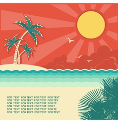Retro nature tropical seascape vector