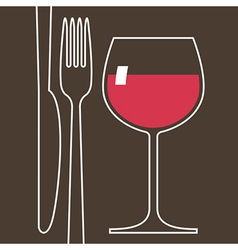 Wineglass and cutlery vector