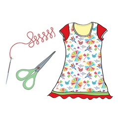 Sewing set with needle scissors and dress vector