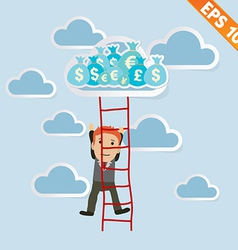 Cartoon businessman climbing ladder - - eps1 vector