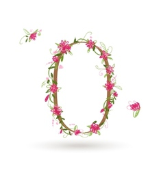Floral number zero for your design vector image