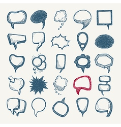 25 sketch different speech bubble collection vector image