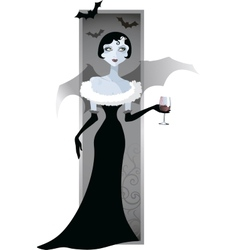 Image of a girl vampire with a glass vector
