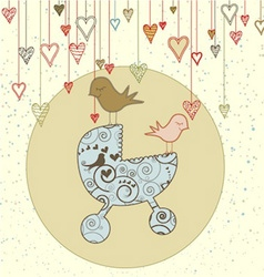A cute card with birds holding a stroller and vector image