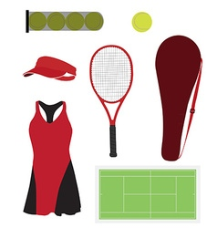 Tennis equipment set vector