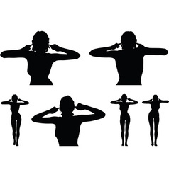 Woman silhouette with hand gesture turn a deaf ear vector