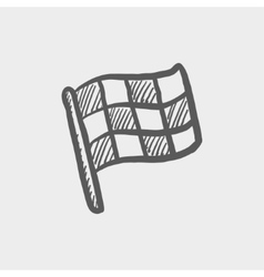 Checkered flag for racing sketch icon vector