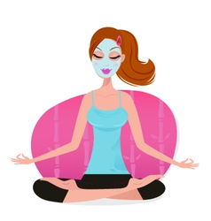 Cute young woman with facial mask doing yoga pose vector