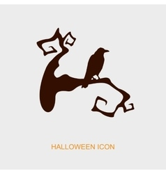 Raven on a branch halloween icon vector