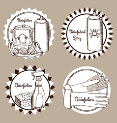 Sketch set of disinfection logo vector