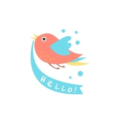 Cute bird with a sign for text vector