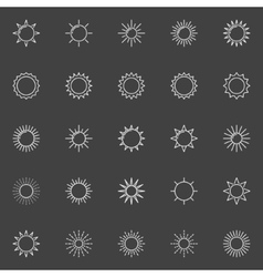 Outline sun icons vector