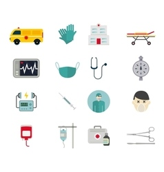 Ambulance reanimation icons vector