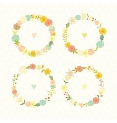 Cute vintage floral frames summer flowers vector