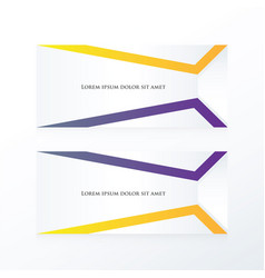 Abstract banner purple yellow vector