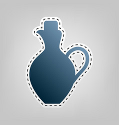 Amphora sign blue icon with vector