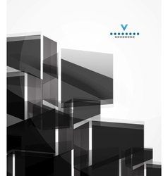Black glass squares geometric background vector image vector image
