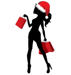 black silhouette of young woman vector image vector image