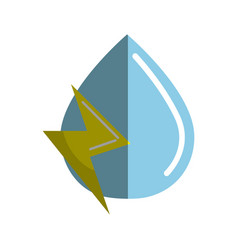 blue water drop with energy sign vector image