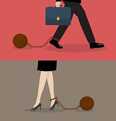 Business man and business woman with weight burden vector image