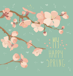 card with spring flowers on tree branch vector image vector image