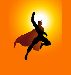 Cartoon silhouette of a superhero flying at vector