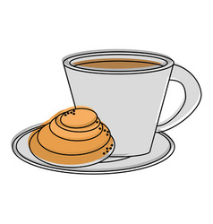 coffee with pastry icon image vector image vector image