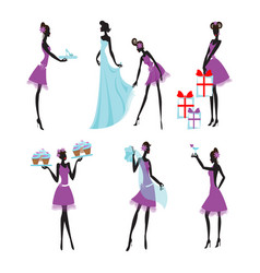 Colorful bridesmaids set vector