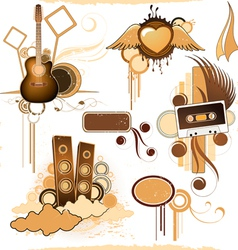 compositions of musical elements vector image vector image