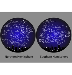 constellations of the northern and southern vector image vector image