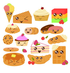 cute bakery goods in flat vector image
