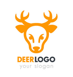 deer head logo element on white vector image vector image