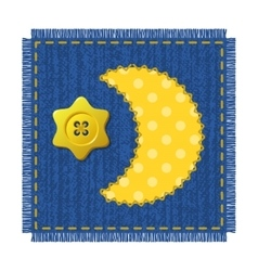 Denim patch with moon and star vector