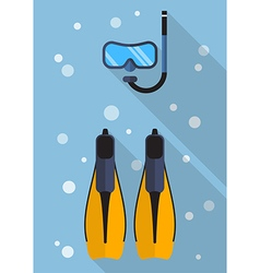Diving mask with snorkel and swimming flippers vector