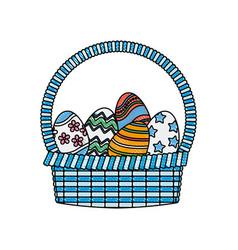 Drawing happy easter basket egg decoration image vector