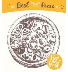 Drawn italian pizza label hot fresh sketch vector image