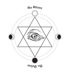 Eye of providence in the center of the hexagram vector