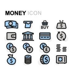 Flat money icons set vector