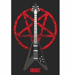 Guitar and Pentagram design vector image vector image