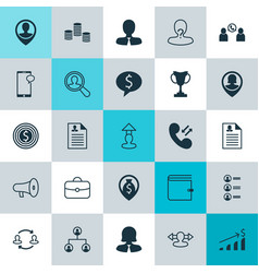 Hr icons set collection of call briefcase vector