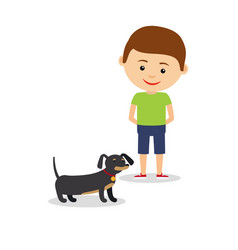 Little boy with dachshund vector