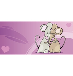 Mice in love valentine card cartoon vector